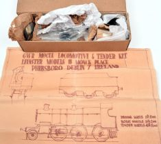 An O gauge unconstructed metal kit of a GWR Mogul 2-6-0 tender locomotive by Leinster Models.