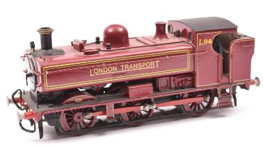 A finescale O gauge kitbuilt model of an LT Class 57xx 0-6-0PT locomotive, L94, in lined maroon