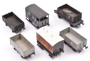 5x O gauge kit built/adapted freight wagons/vans. A Metropolitan Railway horsebox. An LNWR Guard's