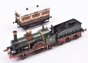 A finescale O gauge kitbuilt model of an LBSCR 2-2-2 tender locomotive, Jenny Lind 70, in lined