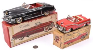 2 Tinplate vehicles. A Japanese ALPS Tinplate Friction Powered 1950 Cadillac Series 62