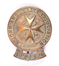 A St. John's Ambulance LBSCR brass cap badge. With pin fitting to back, stamped 658. GC for age,