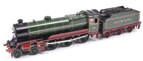 A finescale O gauge kitbuilt model of a Great Central Class 9Q 4-6-0 tender locomotive, 33, in lined