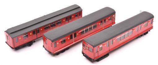 3x O gauge scratchbuilt London Transport O/P and Q Stock Metropolitan cars. A powered driving