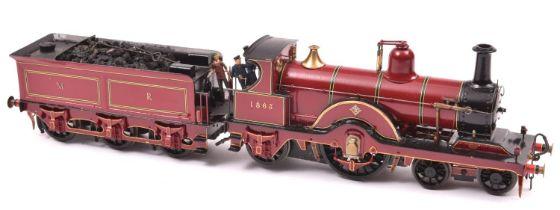 A finescale O gauge kitbuilt model of a Midland Railway 4-2-2 Johnson tender locomotive, 1863, in