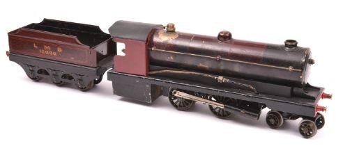 A live steam O gauge Bowman Models locomotive. Spirit fired 2 cylinder tinplate model of an LMS 4-