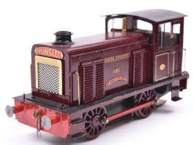 A finescale O gauge kitbuilt brass model of an LT Hunslet 0-4-0 diesel locomotive, Selsey Bill