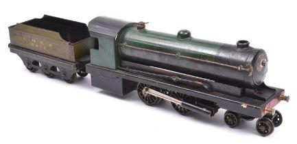 A live steam O gauge Bowman Models locomotive. Spirit fired 2 cylinder tinplate model of an LNER 4-