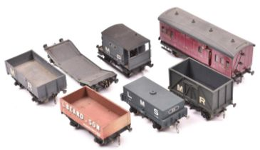 7x O gauge kit built/adapted mainly LMS related freight wagons/coaches. An LMS 4-wheel Brake Third