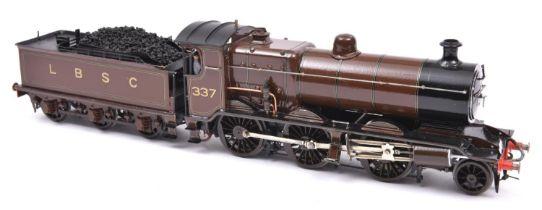 A finescale O gauge kitbuilt model of an LBSCR K Class 2-6-0 tender locomotive, 337, in lined