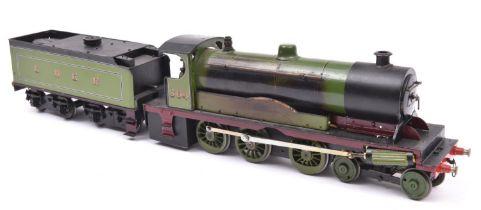 A live steam, spirit fired O gauge scratchbuilt model of an LNER 4-6-0 tender locomotive, 364, in