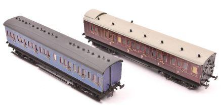 2x O gauge scratch built/kit built suburban coaches. A SECR Brake Composite in lined maroon