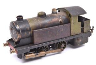 A live steam O gauge Bowman Models locomotive. Spirit fired 2 cylinder tinplate model of an LNER 0-