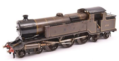 A live steam, spirit fired O gauge scratchbuilt model of an LBSCR L Class 4-6-4T Baltic tank