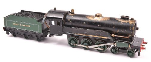A live steam, spirit fired O gauge model of a Great Central 4-6-0 tender locomotive. A heavily
