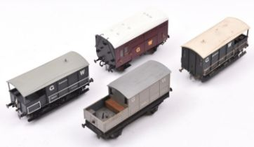 4x O gauge kit built/adapted GWR freight wagons/vans. 3x Guard's vans, including one as a track