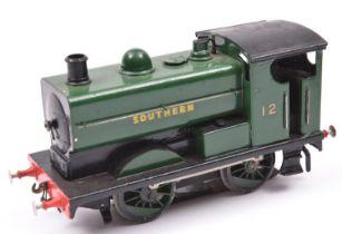 A coarse scale O gauge Leeds Model Co. model of a Southern 0-4-0ST locomotive, 12, in unlined