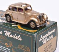 Lansdowne Models LDM.28x 1947 M.G. Saloon, Type 'YA'. In metallic gold with maroon interior, 'UMG