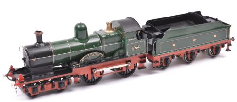 A finescale O gauge kitbuilt model of a GWR Class 32xx 4-4-0 tender locomotive, 3204, in lined green