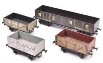 4x O gauge freight wagons/vans. 2x open wagons; LNWR and Manchester Collieries. Plus