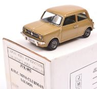Jemini Models British Leyland Mini Clubman. In Harvest Gold (light brown) with green interior,