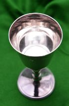 A silver goblet of simple design. Hallmarked Sheffield 1977, with Silver Jubilee mark, 'JNL'.