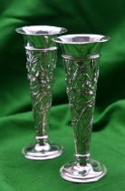 A pair of silver William Comyns Art Nouveau Style Vases. 16.5cm high, width 6.5cm on the rim, base