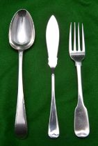 3x items of silver flatware. A Georgian fork hallmarked Dublin 1815, 'RW'/'MW'. A dessert spoon with