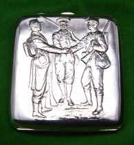 A silver cigarette case with relief decoration of three early 20thC soldiers to lid and gilt wash