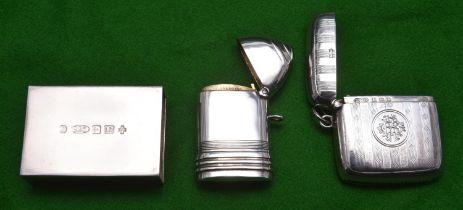 2x silver Vesta cases and a silver matchbox cover. Engine turned Vesta case hallmarked Birmingham