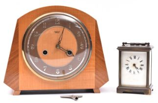 2x clocks. A French brass carriage clock/timepiece. Together with a Smith's mantle clock, striking