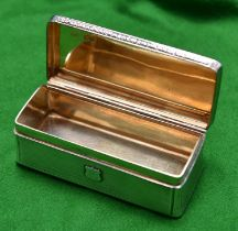 A silver trinket box with gilt wash interior. Monogrammed 'CB' to lid and 'BH' to front.
