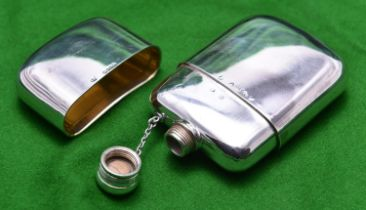 A silver hip flash with lid. Hallmarked London 1861, 'CRWS' for Charles Rawlings & William