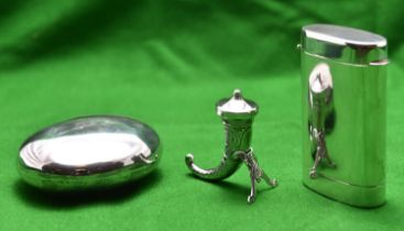 3x silver items. A small 'Horn of Plenty' with detachable lid and Norwegian hallmarks. An oval