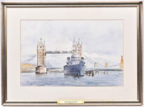 A watercolour painting of Tower Bridge and HMS Belfast by Frans de Leij. Signed and dated 2004 to