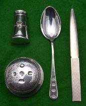 4x silver items. A paperweight hallmarked Birmingham 2000, 'LJM' for L.J. Millington. A paperknife