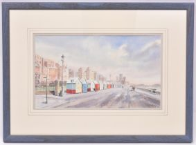 A watercolour painting of Brighton & Hove seafront by Michael Berry. Titled 'Hove Beach Huts',