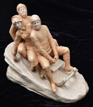 An Austrian Majolica ceramic Bobsled group scuplted by Theodore Schoop and manufactured by The