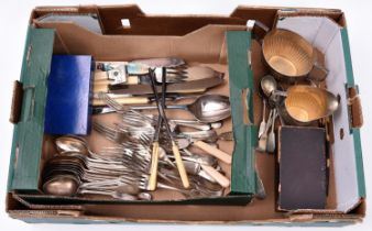A quantity of silver plated flatware, cutlery and other items. Including; bone handled glove