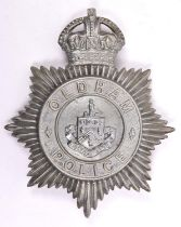 A pre 1952 Oldham Police helmet plate, white metal with traces of chrome plating. GC £45-50