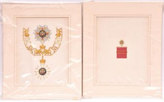Six exquisitely executed watercolour drawings of Orders of Chivalry, comprising Order of the