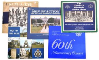 A large collection of military LP vinyl records, comprising a variety of Regimental and Police