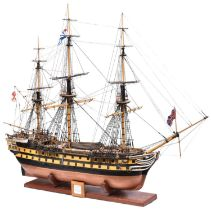 A well constructed scratch built model of HMS Revenge, a 74 gun third rate ship of the line which