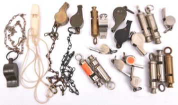 """21 various whistles, mostly WWII military: 3 Air Ministry marked dinghy whistles; 8 """"Metropolitan"""""""