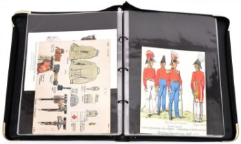 26 sheets of well executed watercolour drawings of pre 1918 German military uniforms, insignia,