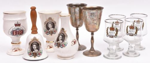 A small collection of 1977 Silver Jubilee souvenirs, comprising Royal Worcester china vase and two