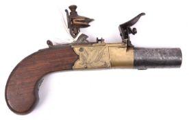 """A brass framed 48 bore flintlock boxlock pocket pistol, signed """"H. Nock, London"""", c 1820, 6"""""""