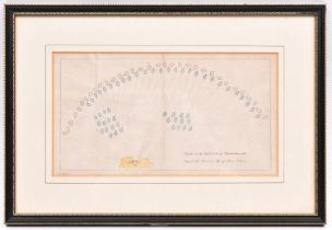 """A hand coloured print """"Plan of the Battle of Trafalgar. Engraved for Duncan's Life of Nelson"""", in"""
