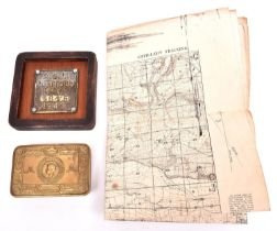 """A Christmas 1914 Princess Mary's gift tin (no contents); a WWI linen backed """"Artillery Training"""""""