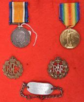 "WWI pair: BWM, Victory (20860 2AM S.E. Putland RAF), also his identity bracelet to ""S.E. Putland"